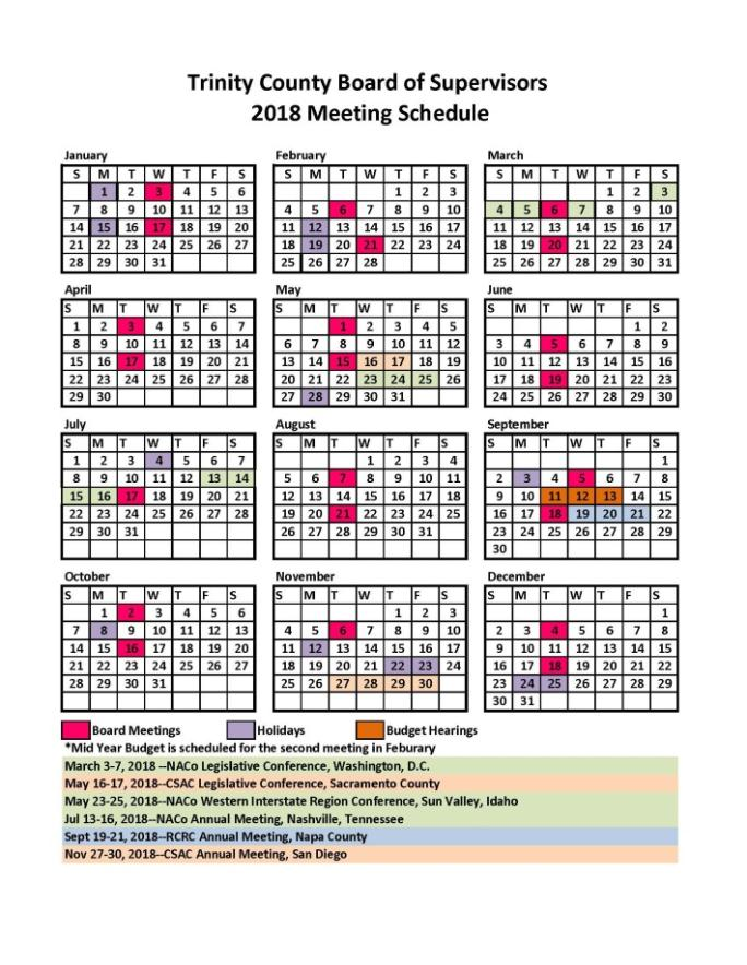 2018 BOS Meeting Schedule | Trinity County
