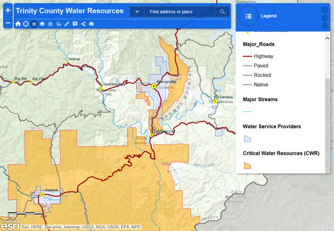 topographical map of Trinity County Water Resources